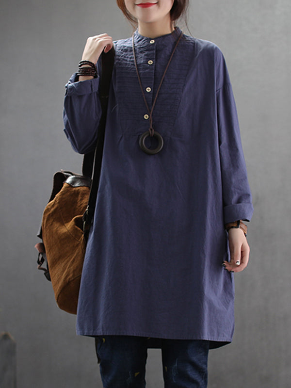 Pansy Ethnic Linen Cotton Pullover Shirt with Solid Color