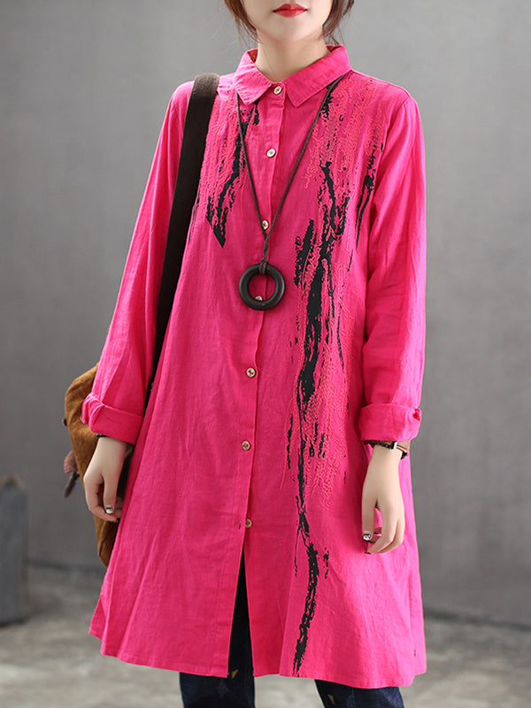 Ines Linen Cotton Embroidery Shirt with Floral Inking