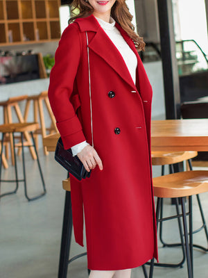Lorene Double-breasted Belted Frock Coat with Wrap Collar