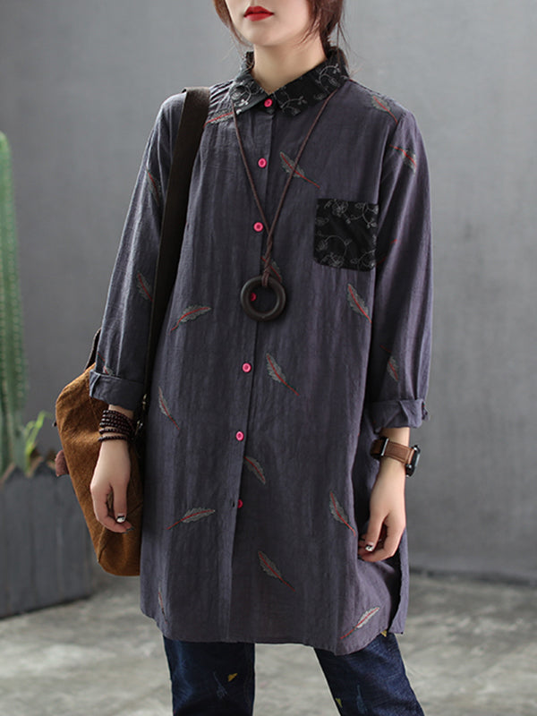 Eileen Vintage Linen Cotton Embroidery Shirt with Contrast Color