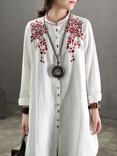 Noelle Stand Neck Joint Shirt with Shivering Embroidery