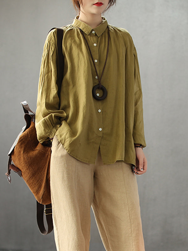 Concetta Vintage Linen Cotton Smock Shirt in Solid Color