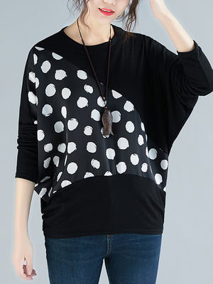 Leigh Patchwork Print Basic Top with Polka Dots(Pre sale)
