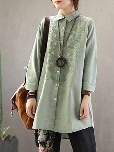 Letitia Vintage Linen & Cotton Shirt with Ethnic Embroidery