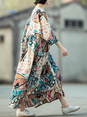 Abstract Leave Art Maxi Dress