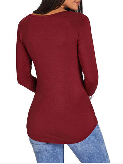 Round Neck Pullover Top with Reindeer Sketch