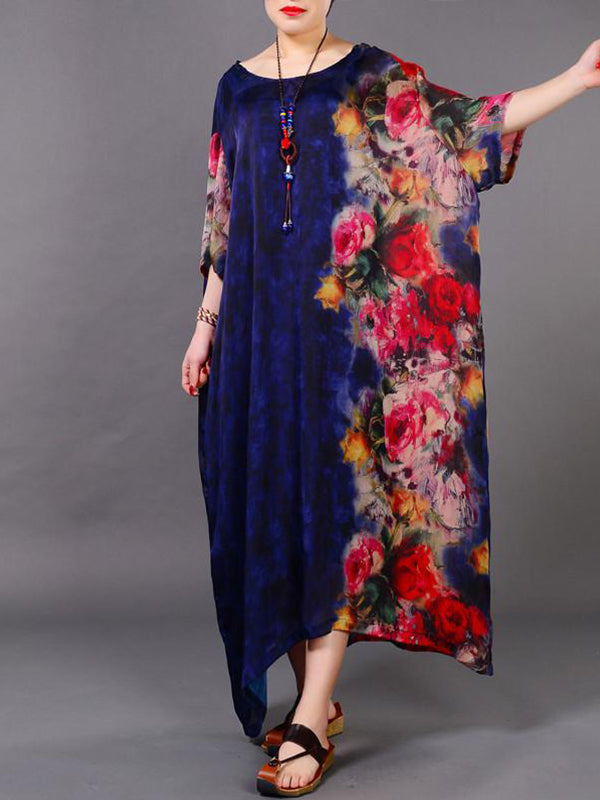 Rose Side Garden Silk Dress