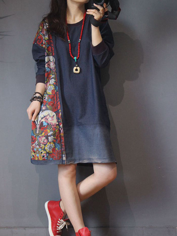 Vintage Pullover Hoodie Dress Side Ethnic Prints