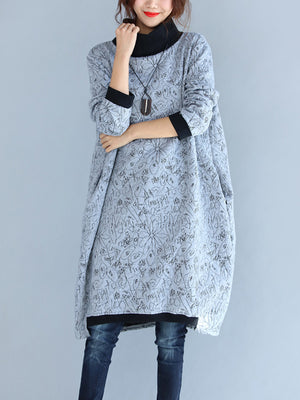 High Collar Slim Pullover Dress with Sketch Prints