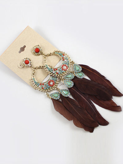 Katrina Ethnic Feather Tassels Earrings