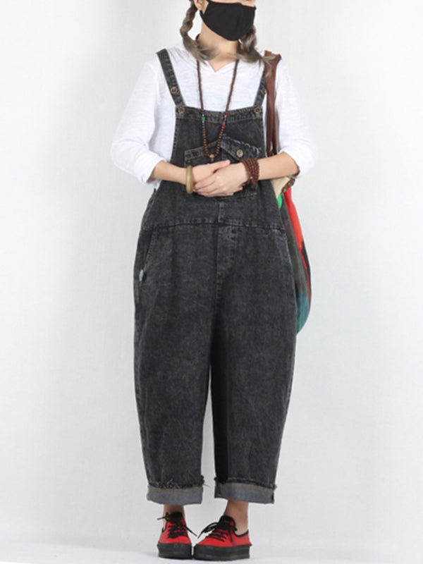 Sonia Sand Wash Abrasion Harem Overall Dungarees with Pockets