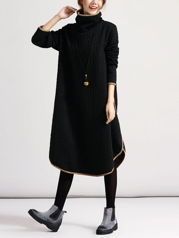 High Collar Loose Pullover Dress with Cable Knit