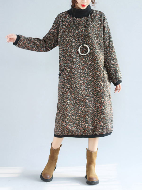 High Collar Pocket Dress with Shivering Prints