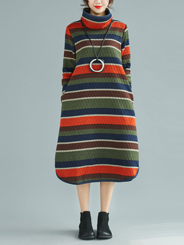High Collar Pullover Dress with Vintage Stripes