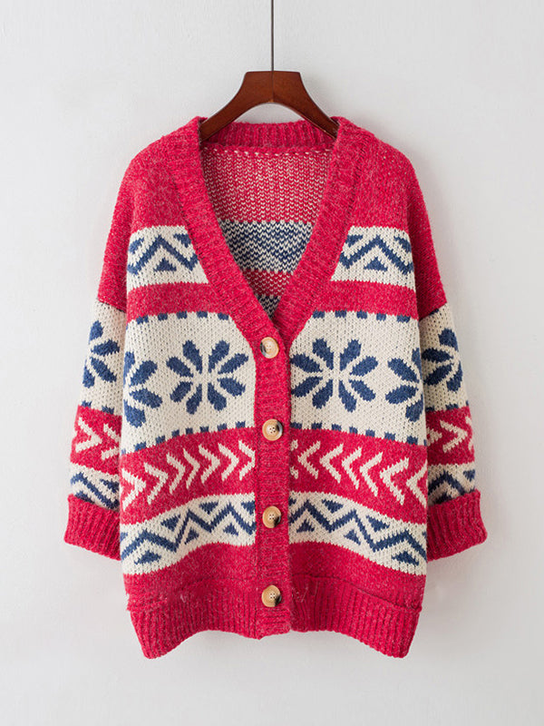 V-Neck Knit Cardigan with Ethnic Prints