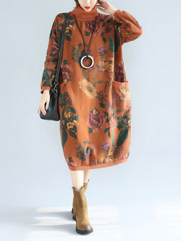High Collar Pocket Dress with Floral Prints