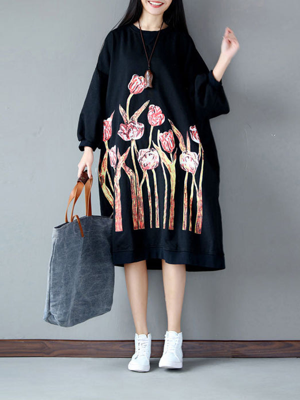 Casual Blossom Hoodie Dress with Bat Sleeves