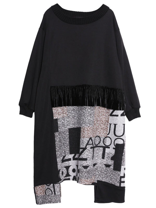 Black Alphabet Joint Midi Dress with Tassels
