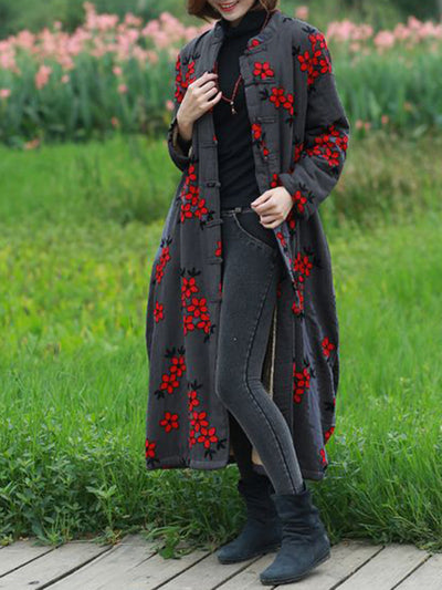 Stephanie Shivering Overcoat with Buttonhole Loop
