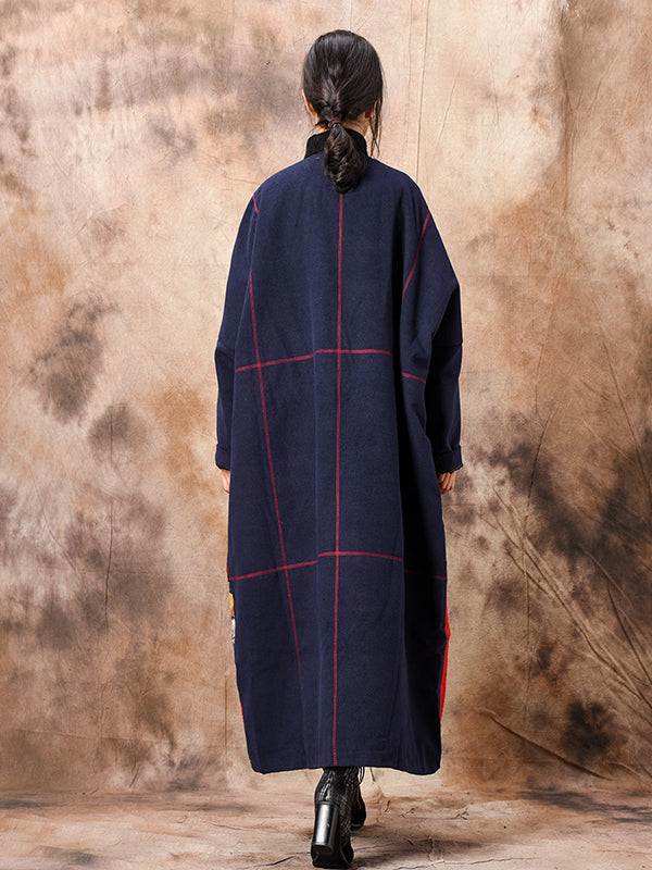Plaid Jacquard Thicken Overcoat with Patched Square Prints