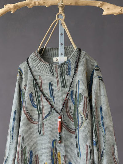 Sarah Round Neck Cotton Sweater Top with Cactus Prints