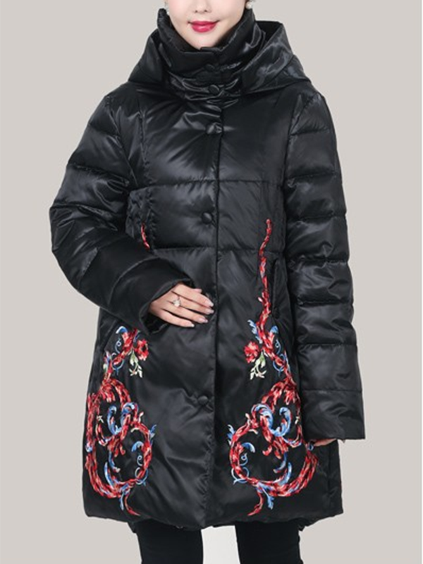 Caroline Hooded Dark Quilted Down Coat with Floral Prints