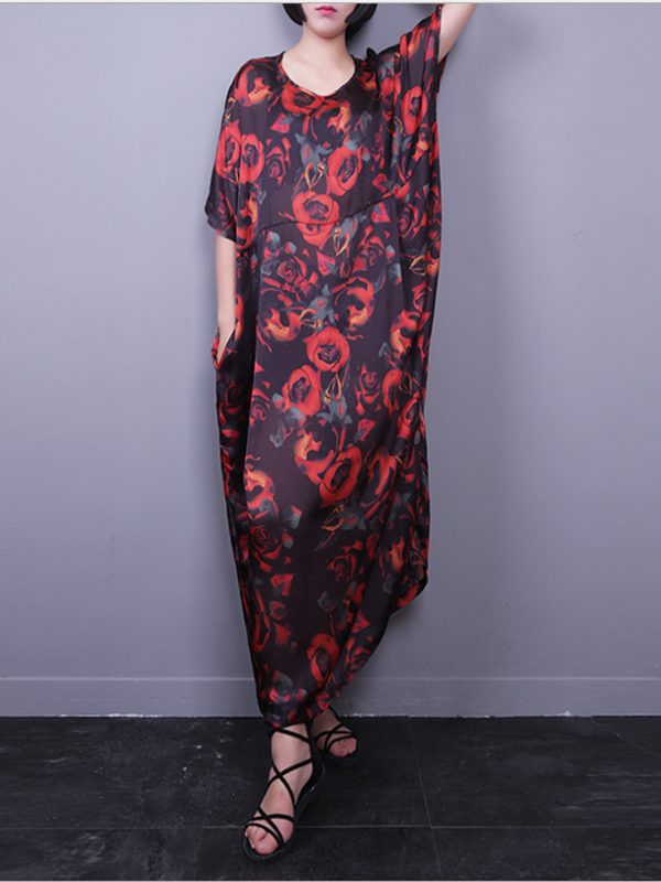 Barbara Blossom Silk Maxi Dress with Floral Prints