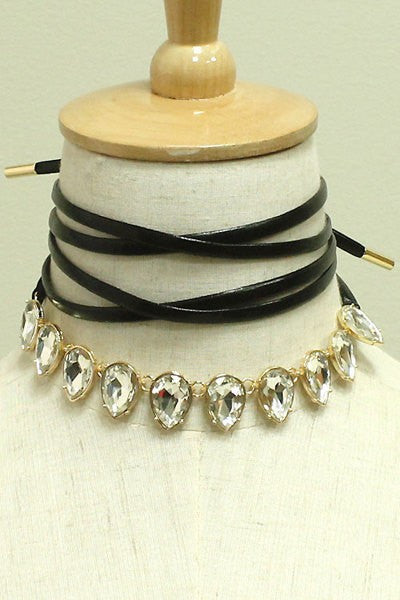 Diamond Leather Strap Choker Set