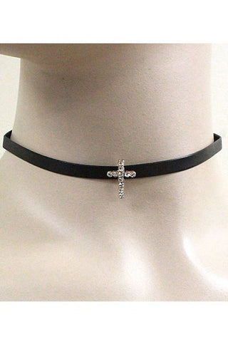 Cross Leather Strap Choker Set