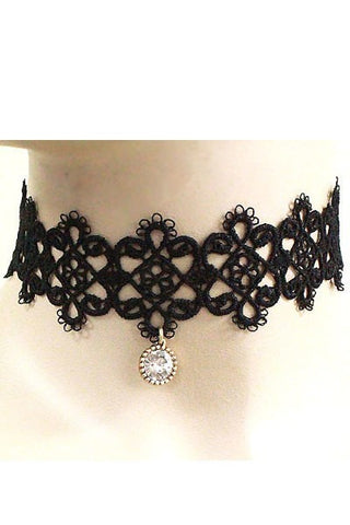 Crystal Floral Lace Choker Set