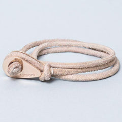 DURBAN Distressed Leather Thimble Bracelet Beige