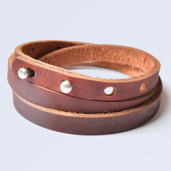 FALMOUTH Leather Cuff Bracelet Antique Brown