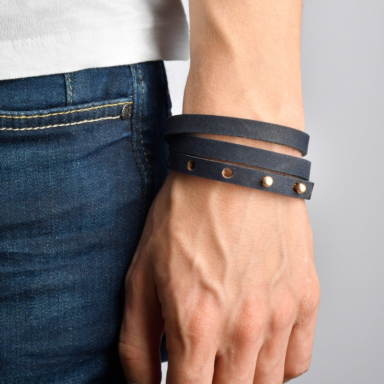 LA ROMANA Leather Mens Womens Cuff Bracelets Designer Wrap Wristbands Navy Blue Rose Gold | Fathom Bracelets