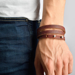 FALMOUTH Leather Mens Womens Cuff Bracelets Designer Wrap Wristbands Antique Brown Silver | Fathom Bracelets