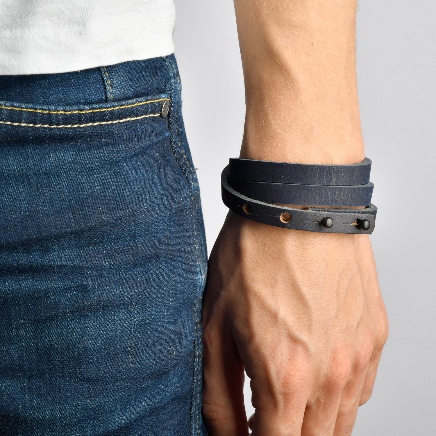BORA-BORA Leather Mens Womens Cuff Bracelets Designer Wrap Wristbands Navy Blue Matte Black | Fathom Bracelets
