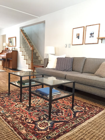 Vintage Persian rug in living room space