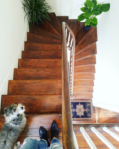 Liz Kamarul Stairway with vintage turkish rug