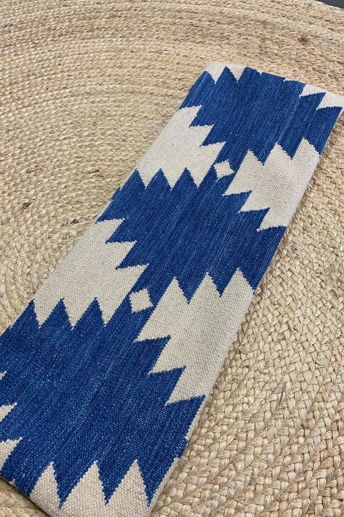 Blue + beige kilim pillow (cover only)