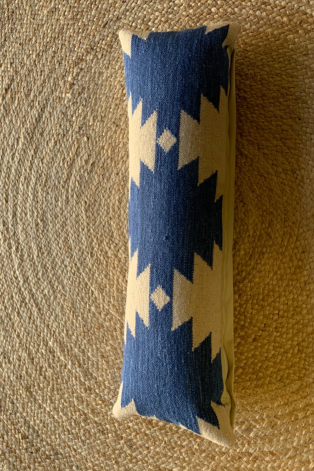 Skinny blue + beige kilim pillow
