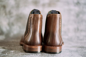 Amen Antique Tan Brogue Style Leather Goodyear Welted Boots - Amen shoes