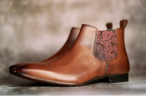 Amen Brown Leather Ankle Boot with Paisley Gussets - Amen shoes