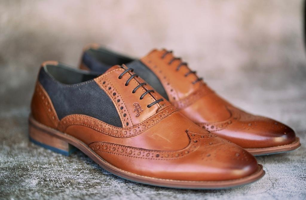 Amen Leather Tan Brogues With Navy Suede Detailing - Amen shoes