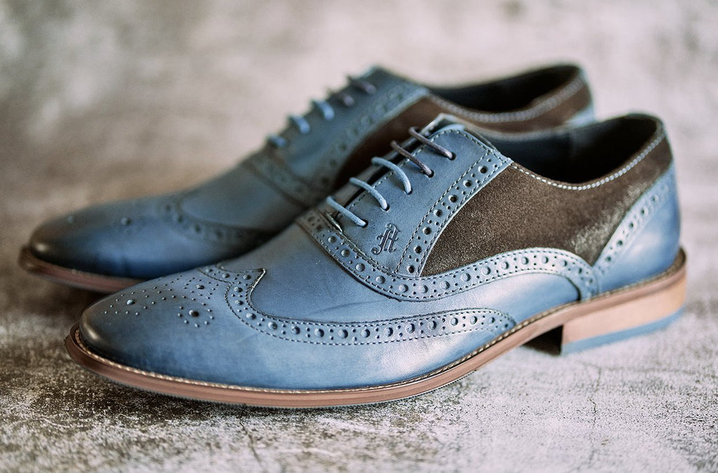 Amen Navy Leather With Chocolate Brown Suede Brogue - Amen shoes