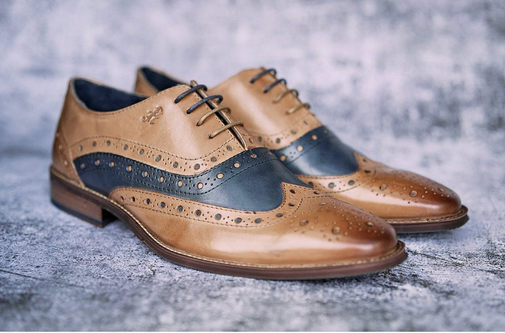 Amen Tan & Navy Leather Brogues end of a line now only 49.99 - Amen shoes