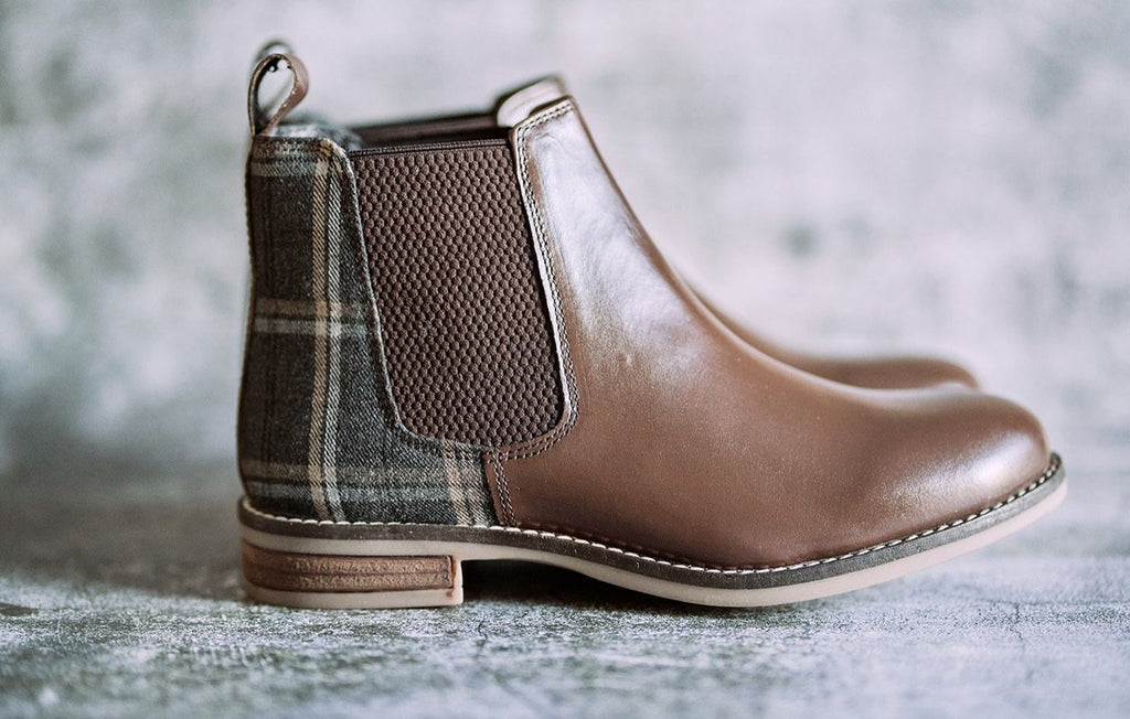 Amen Women's Leather Brown Chelsea Boots With Tartan Finish - Amen shoes