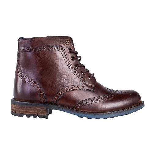 Catesby Brown Leather Lace Up Boots With Commando Sole - Amen shoes