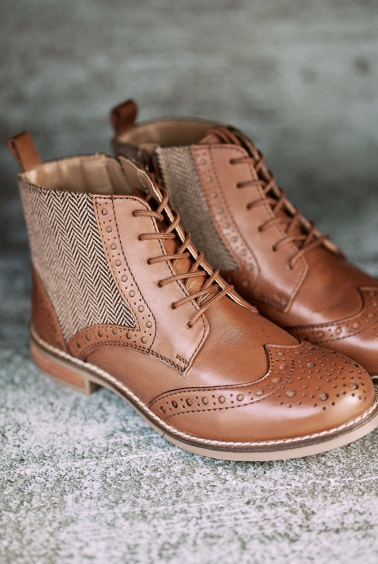 Ladies Amen soft leather tweed lace up boots with zip - Amen shoes