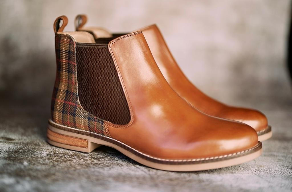 Ladies Tan And Tartan Leather Chelsea Boot (YW) - Amen shoes