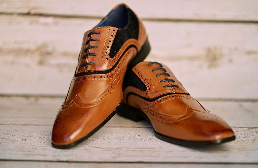Tan Brogues With Navy Trim - Amen shoes