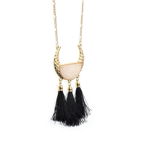 Half Moon Pink Pendant Necklace with Black Tassels